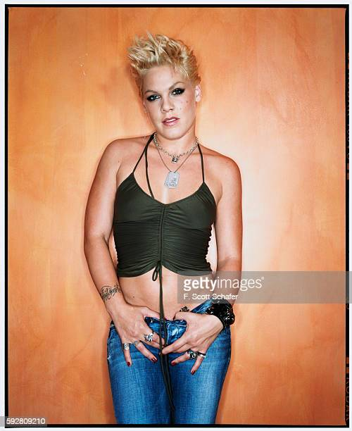 Singer Pink is photographed for Newsweek Magazine in 2003