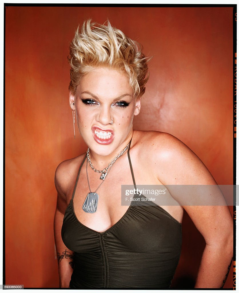 Singer Pink is photographed for Newsweek Magazine in 2003.