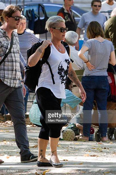 Singer Pink is seen in the 'Jardins du Luxembourg' on September 9 2012 in Paris France