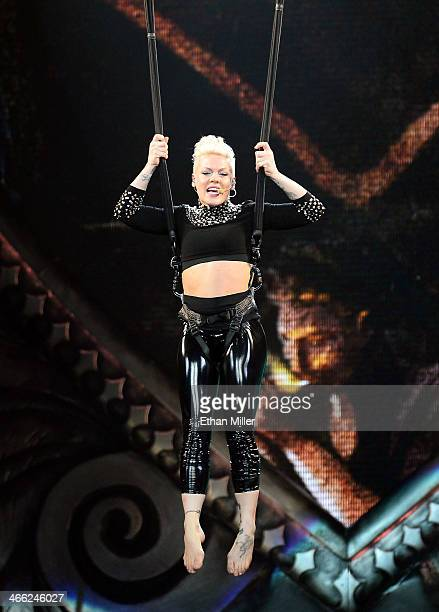Singer Pink performs at the MGM Grand Garden Arena during The Truth About Love tour on January 31 2014 in Las Vegas Nevada