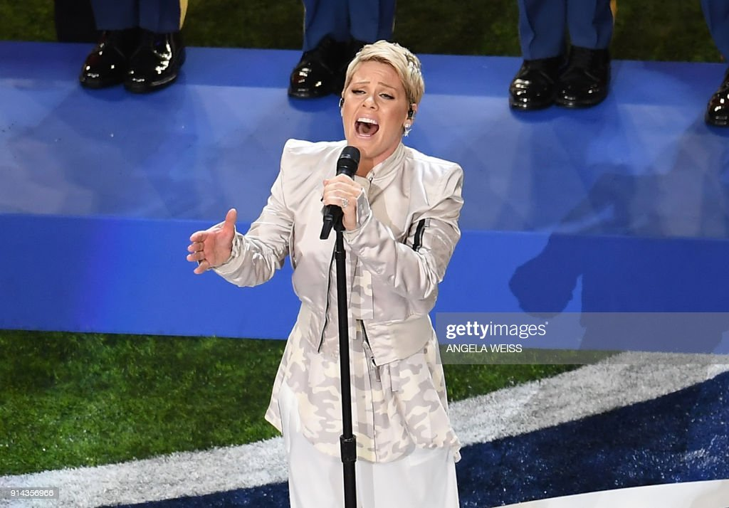 TOPSHOT - Singer Pink performs during the Super Bowl LII Pregame Show at US Bank Stadium on February 4, 2018 in Minneapolis, Minnesota. /