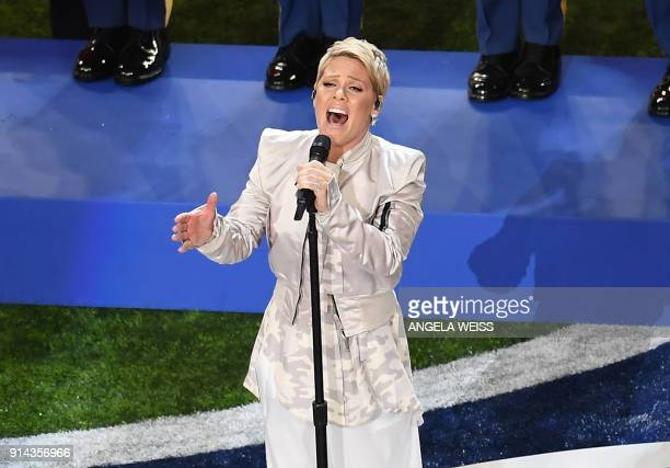 TOPSHOT Singer Pink performs during the Super Bowl LII Pregame Show at US Bank Stadium on February 4 2018 in Minneapolis Minnesota / AFP PHOTO /...