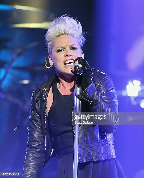 Singer Pink performs for fans at The Forum Theatre on October 4 2012 in Melbourne Australia Pink is in Australia promoting her latest album The Truth...