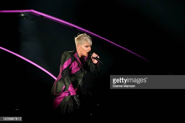 Singer Pink performs live on stage at Forsyth Barr Stadium on September 1 2018 in Dunedin New Zealand
