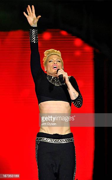 Singer Pink performs live on stage during her 'The Truth About Love Tour' at 02 Arena on April 24 2013 in London England