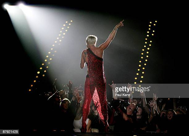 Singer Pink performs on stage at the Burswood Dome on May 22, 2009 in Perth, Australia.