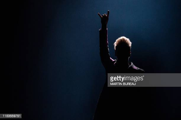 US singer Pink performs on the stage of the ParisLa Defense Arena during a concert as part of her 'Beautiful Trauma World Tour 2019' in Nanterre near...