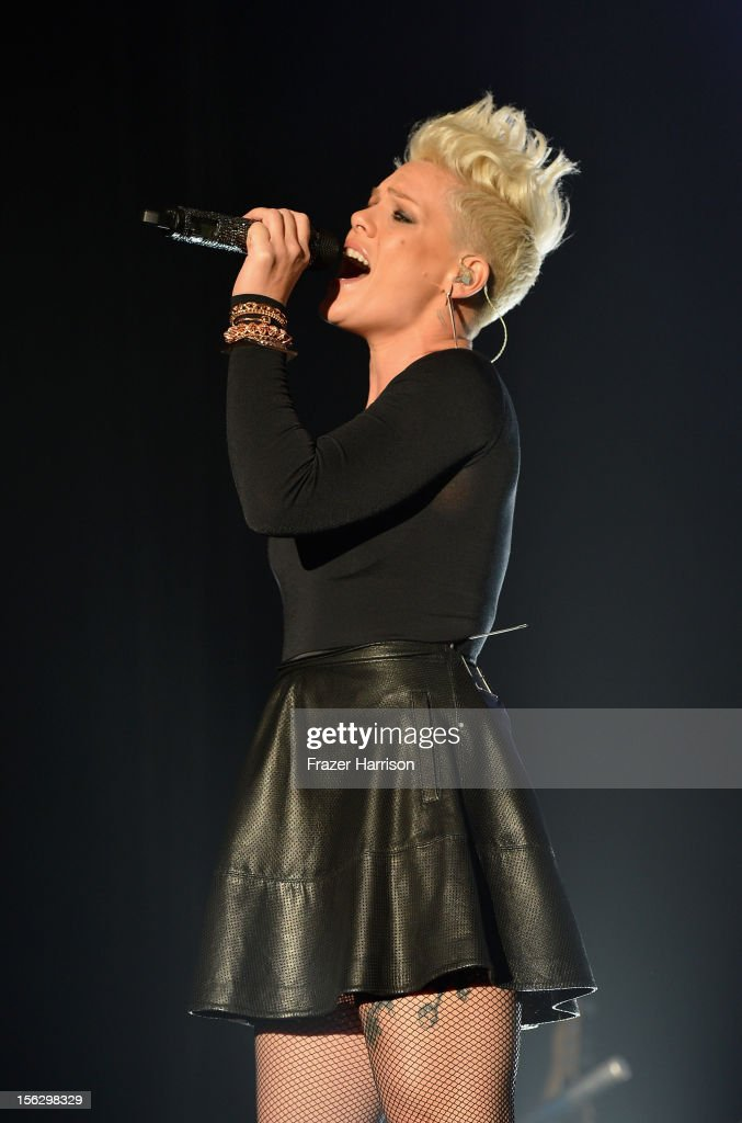 Singer Pink performs onstage at the St. John's Health Center's Power Of Pink benefiting The Margie Petersen Breast Center at Sony Studios on November 12, 2012 in Los Angeles, California.