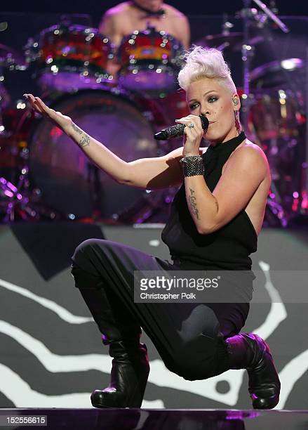 Singer Pink performs onstage during the 2012 iHeartRadio Music Festival at the MGM Grand Garden Arena on September 21 2012 in Las Vegas Nevada