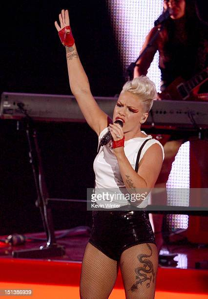 Singer Pink performs onstage during the 2012 MTV Video Music Awards at Staples Center on September 6 2012 in Los Angeles California