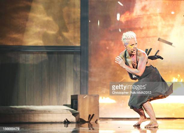 Singer Pink performs onstage during the 40th American Music Awards held at Nokia Theatre LA Live on November 18 2012 in Los Angeles California