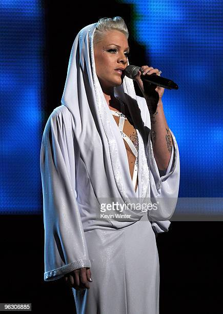 Singer Pink performs onstage during the 52nd Annual GRAMMY Awards held at Staples Center on January 31 2010 in Los Angeles California