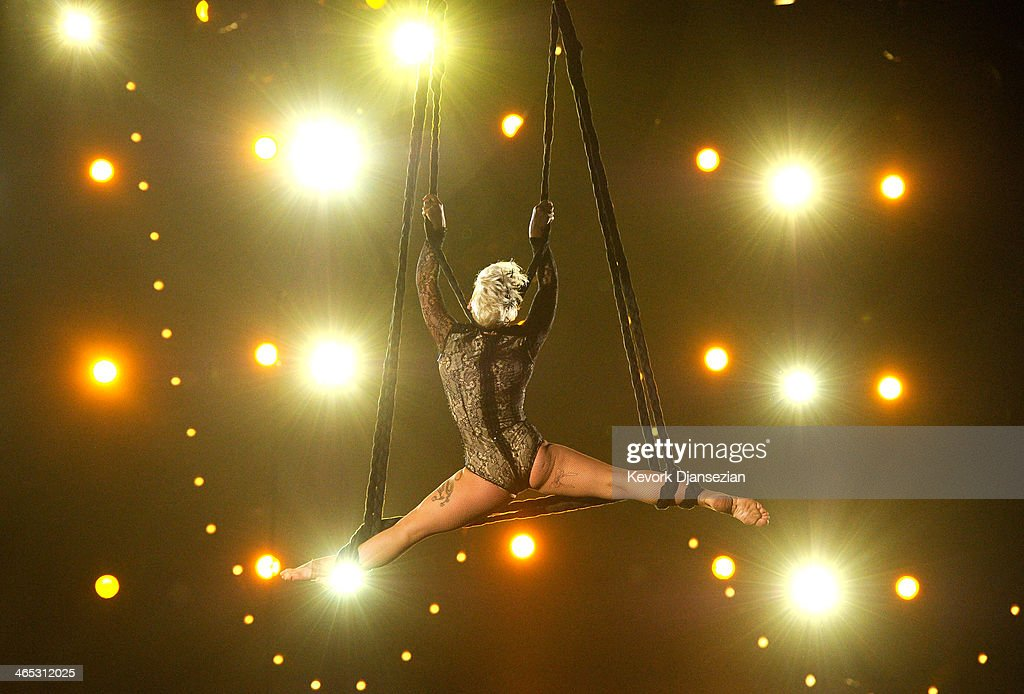 Singer Pink performs onstage during the 56th GRAMMY Awards at Staples Center on January 26, 2014 in Los Angeles, California.