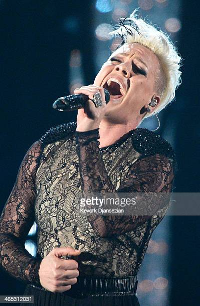Singer Pink performs onstage during the 56th GRAMMY Awards at Staples Center on January 26 2014 in Los Angeles California