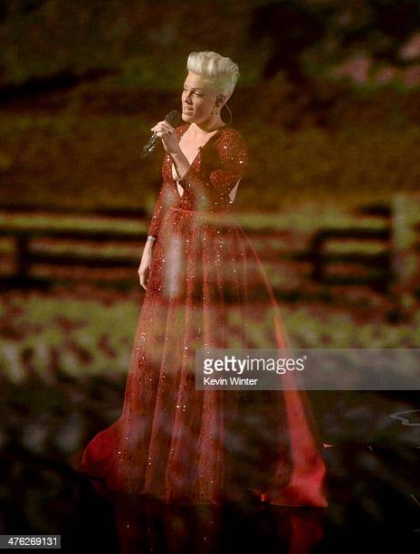 Singer Pink performs onstage during the Oscars at the Dolby Theatre on March 2 2014 in Hollywood California
