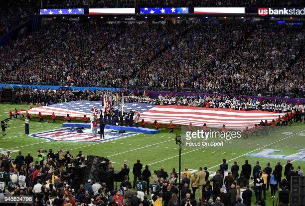 Singer Pink performs the National Anthem prior to the start of Super Bowl LII between the Philadelphia Eagles and New England Patriots at US Bank...