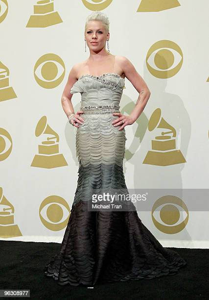 Singer Pink poses in the press room at the 52nd Annual GRAMMY Awards held at Staples Center on January 31, 2010 in Los Angeles, California.