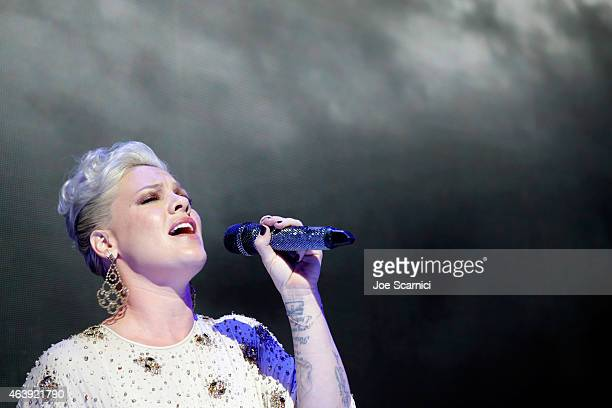 Singer Pink speaks onstage at the 2nd Annual unite4:humanity presented by ALCATEL ONETOUCH at the Beverly Hilton Hotel on February 19, 2015 in Los...