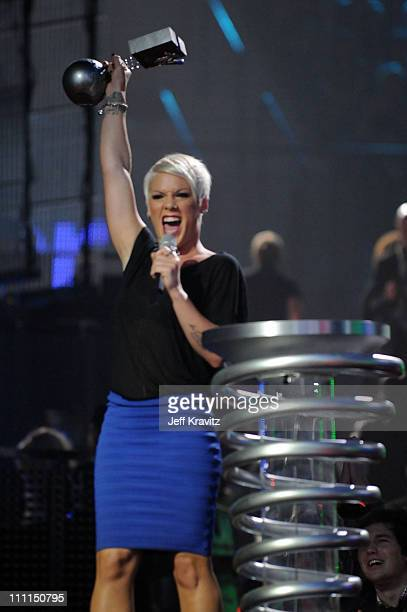 Singer Pink with her Most Addictive Track Award for 'So What' during the 2008 MTV Europe Music Awards held at at the Echo Arena on November 6 2008 in...