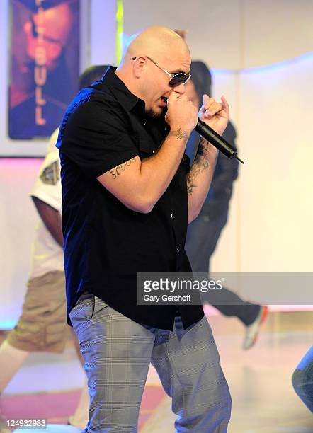 Singer Pit Bull performs live on stage during the Tr3s Fashionista show at MTV Studios Times Square on July 25 2008 in New York City