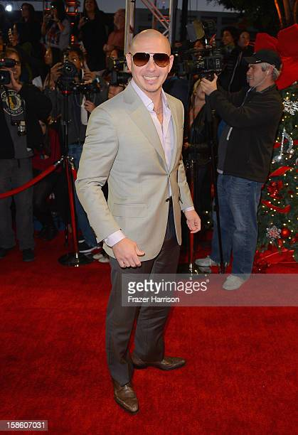 Singer Pitbull arrives at Fox's The X Factor Season Finale Night 2 at CBS Television City on December 20 2012 in Los Angeles California
