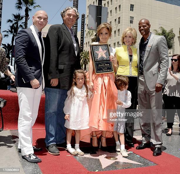 Singer Pitbull director Gregory Nava actress/singer Jennifer Lopez actress Jane Fonda actor Keenan Ivory Wayans and Lopez's children Emme and Max...