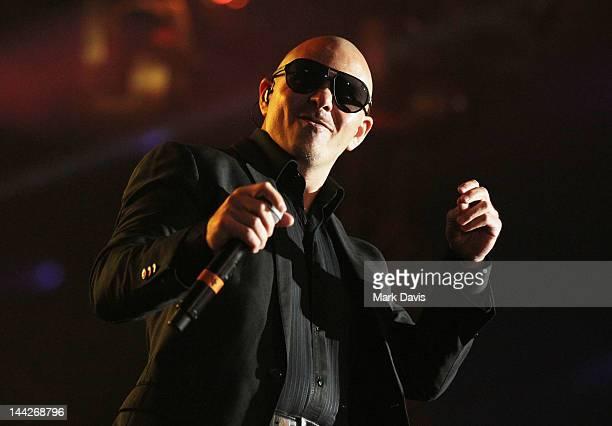 Singer Pitbull performs at 1027 KIIS FM's Wango Tango at The Home Depot Center on May 12 2012 in Carson California