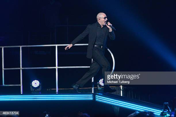 Singer Pitbull performs at Staples Center on February 13 2015 in Los Angeles California