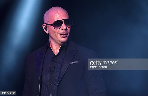 USA singer Pitbull performs during the World Music Festival 'Mawazine' in Rabat on May 27 2016 / AFP / FADEL SENNA