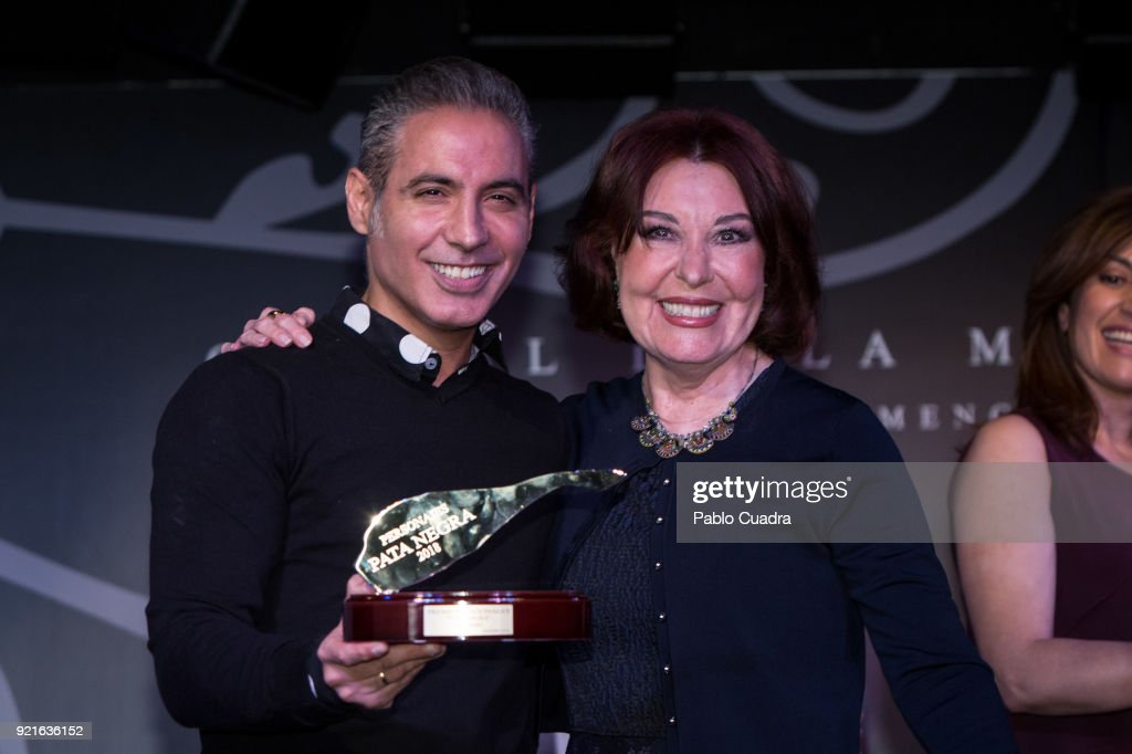 Singer Pitingo (L) attends the 'Pata Negra' awards at the Corral de la Moreria club on February 20, 2018 in Madrid, Spain.