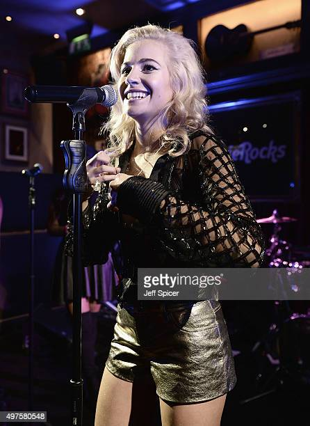 Singer Pixie Lott performs on stage at the Hard Rock Cafe on November 17 2015 in London England