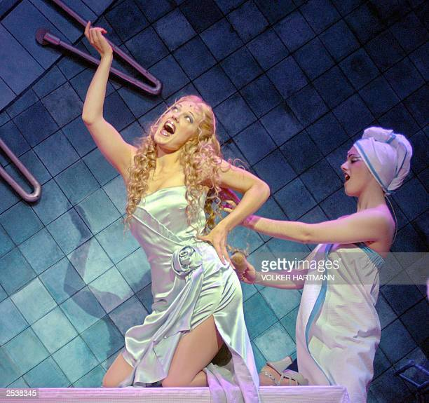 A singer playing Amneris is pictured during dress rehearsal of the musical AIDA in Essen 26 September 2003 The musical was created by British...