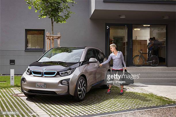 Singer Pnk is seen outside her BMW i3 car on September 03 2014 in Los Angeles California