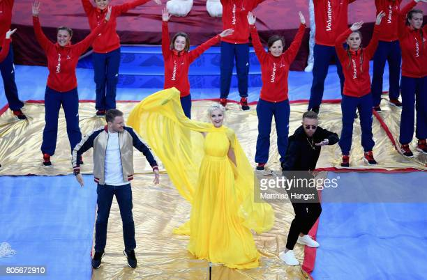 Singer Polina Gagarina perform with Egor Kreed and DJ Smash during the closing ceremony prior to the FIFA Confederations Cup Russia 2017 Final...