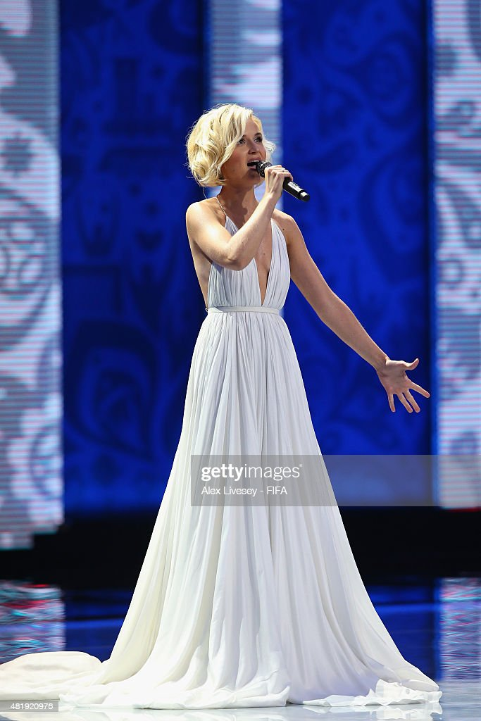 Singer Polina Gagarina performs at the Preliminary Draw of the 2018 FIFA World Cup in Russia at The Konstantin Palace on July 25, 2015 in Saint Petersburg, Russia.