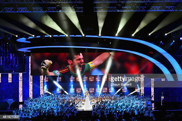 Singer Polina Gagarina performs at the Preliminary Draw of the 2018 FIFA World Cup in Russia at The Konstantin Palace on July 25, 2015 in Saint...