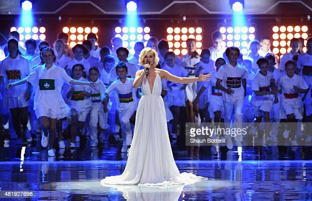 Singer Polina Gagarina performs at the Preliminary Draw of the 2018 FIFA World Cup in Russia at The Konstantin Palace on July 25 2015 in Saint...