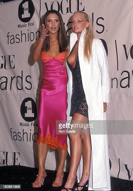 Singer Posh Spice Victoria Beckham and singer Baby Spice Emma Bunton of the Spice Girls attend the 2000 VH1/Vogue Fashion Awards on October 20 2000...