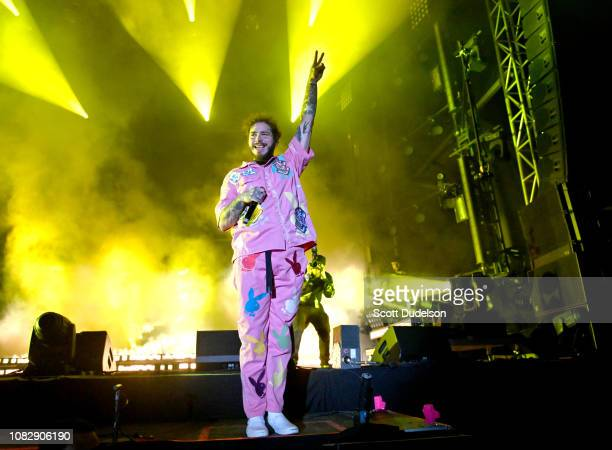 Singer Post Malone performs onstage during day one of the Rolling Loud Festival at Banc of California Stadium on December 14 2018 in Los Angeles...