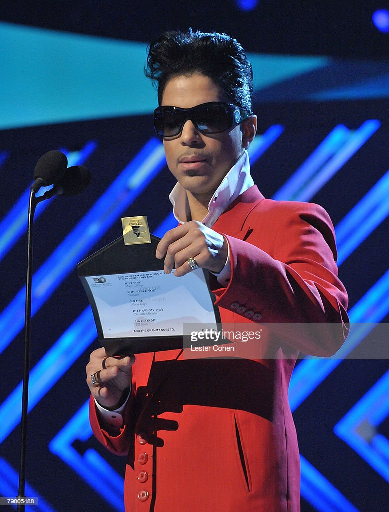 Singer Prince on stage at the 50th Annual GRAMMY Awards at the Staples Center on February 10, 2008 in Los Angeles, California.