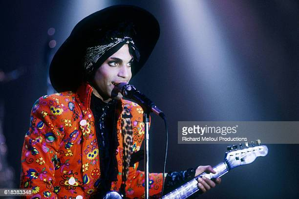 Singer Prince performing on stage at the Theatre de Verdure for the shooting of a music video. He is performing a song from his upcoming album...
