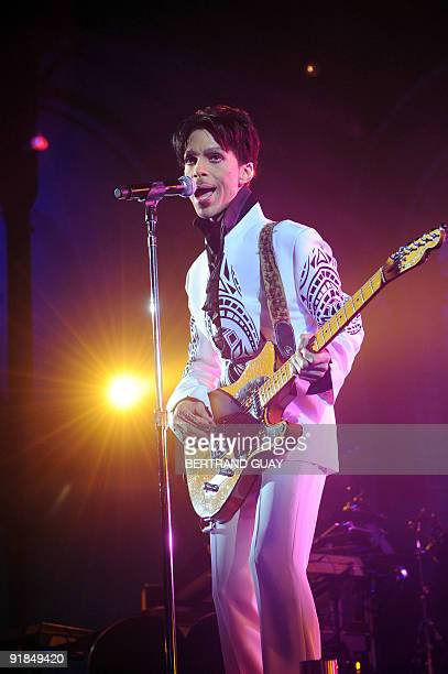 Singer Prince performs on October 11, 2009 at the Grand Palais in Paris. Prince has decided to give two extra concerts at the Grand Palais titled...