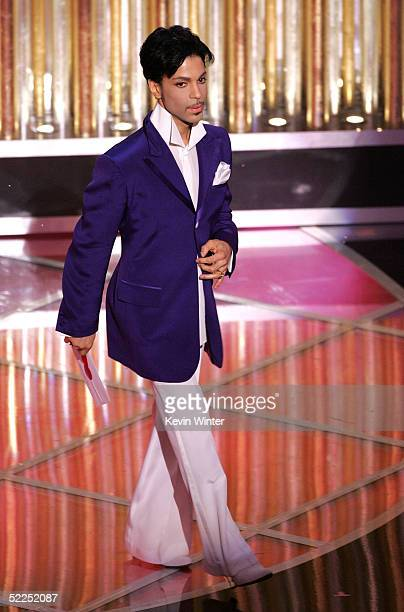 Singer Prince presents the awards for best original song during the 77th Annual Academy Awards on February 27 2005 at the Kodak Theater in Hollywood...