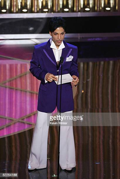 Singer Prince walks on stage during the 77th Annual Academy Awards on February 27 2005 at the Kodak Theater in Hollywood California