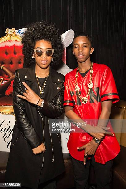Singer Princeton of Mindless Behavior and Christian Casey Combs attend Christian Casey Combs' 16th birthday party at 1OAK on April 4 2014 in West...
