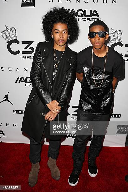 Singer Princeton of Mindless Behavior and recording artist Myles 'BigDeal' Brown arrive at Christian Casey Combs' 16th birthday party at 1OAK on...