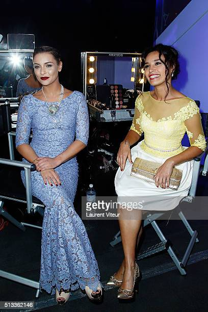 Singer Priscilla Betti and Journalst Aida Touihri attend the Christophe Guillarme show as part of the Paris Fashion Week Womenswear Fall/Winter...