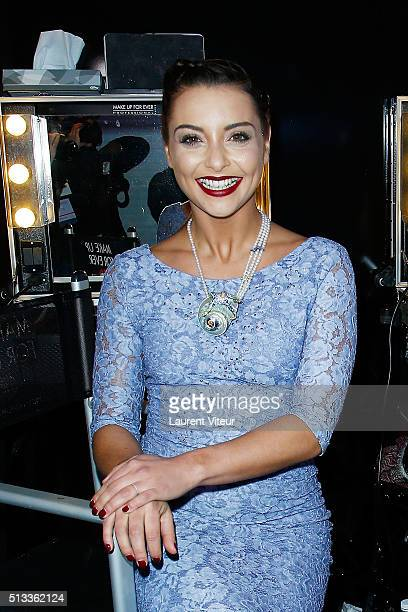 Singer Priscilla Betti attends the Christophe Guillarme show as part of the Paris Fashion Week Womenswear Fall/Winter 2016/2017 at Pub Renault on...