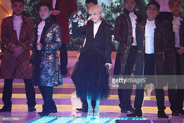 Singer Priscilla Chan performs onstage during the Yan Chai Charity Show 2016 at TVB City on January 9 2015 in Hong Kong China