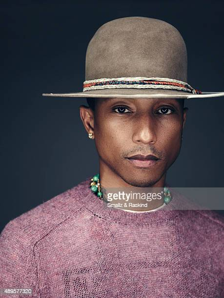 Singer producer fashion designer and coach on The Voice Pharrell Williams is photographed for Billboard Magazine on September 9 2014 in Los Angeles...